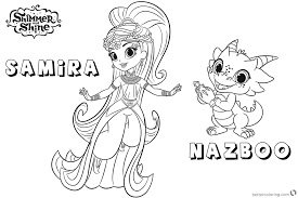 Shimmer And Shine Coloring Pages Princess Samira And Nazboo Free