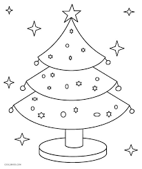 This coloring sheet features a christmas tree decorated with ornaments. Printable Christmas Tree Coloring Pages For Kids