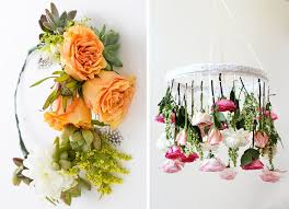 above left succulent flower crown by brit co above right diy flower chandelier by honestly