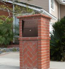 brick mailbox flag. High Security Locking Mailbox In Red Brick Column Flag U