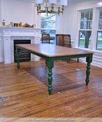 diy farmhouse dining table stained top with dark green a and legs 2