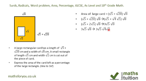 surds radicals word problem area percentage igcse as level and 10th grade math you