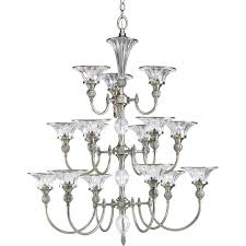 progress lighting roxbury 36 125 in 15 light classic silver crystal clear glass tiered chandelier