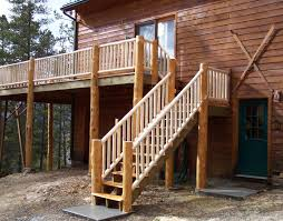 image of wooden external stair railing