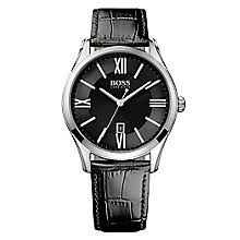 hugo boss watches boss watches uk ernest jones hugo boss men s stainless steel black leather strap watch product number 4492315