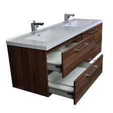 camino  in modern double vanity set wall mount in walnut