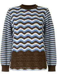 Shop brown Coohem <b>Retro Wave</b> knit jumper with Express Delivery ...