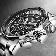 LIGE <b>Mens</b> Watches <b>Top Brand Luxury</b> Chronograph Full Steel ...