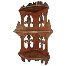 antique decorative fretwork wood wall corner shelf with 3 shelves solid wood corner wall shelf antique