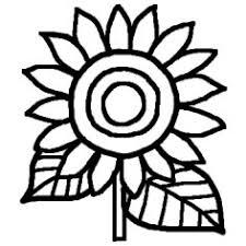ヒマワリ向日葵白黒夏花植物の無料イラストミニカット
