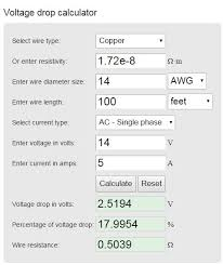 Ac Voltage Drop Chart Track Bus Voltage Drop Calculator Welcome To The Nce