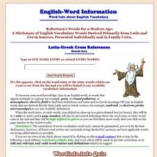 Word Origins Website Word Information An English Dictionary About English