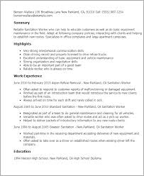 Sanitation Worker Job Description 1 Sanitation Worker Resume Templates Try Them Now