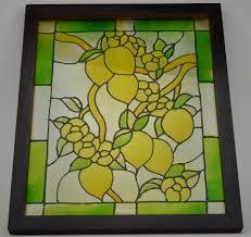 painted glass window decoration lemon design wall hanging 24 tall