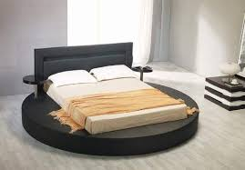 Black Padded Leather Round Bed Frame with Light in Headboard