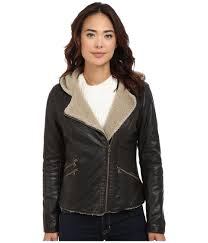 levi s brown levi s r asymmetrical faux leather hooded moto