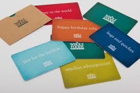 in keeping with its eco friendly stance organic and natural food retailer whole food markets has introduced two types of gift cards one made from paper