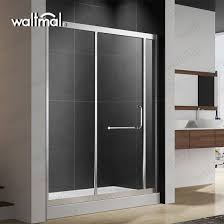 sliding shower door with 1 4 thick crystal clear glass and blade handles