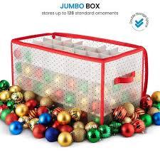 Zober Christmas Ornament Storage Box - Fits 128 Ornaments Sturdy Flexible Plastic