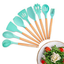 silicone cooking utensils kitchen utensil set 11 pieces acacia wooden cooking tool for nonstick cookware