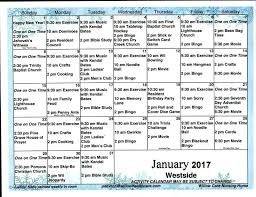 Nursing Home Activity Calendar Template For Seniors Monthly Free ...