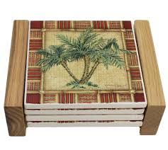 hg018 palm tree coasters with wood holder jpg
