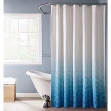 blue monochromatic fabric shower curtain
