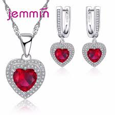 2019 jemmin top quality new 925 sterling silver heart ruby statements necklace earrings wedding jewelry sets for brides femme bijoux from mangocc