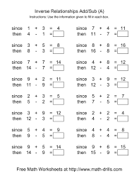 math worksheets inverse relationships addition andraction range to solving equations answers and subtraction 5th grade one