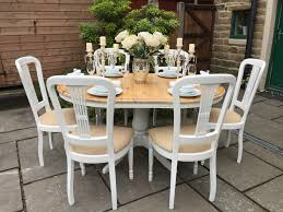 farmhouse extending dining table 6 chairs