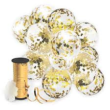 decopom gold confetti balloons curling ribbon roll flower clips 32 pack premium 12