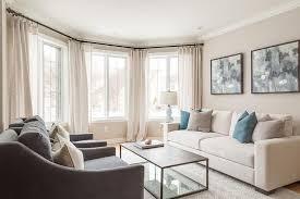 Cream Sofa with Blue pIllows