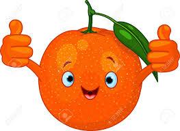Fruit De Cartoon Orange Souriant Heureux Image Vectorielle Heureux