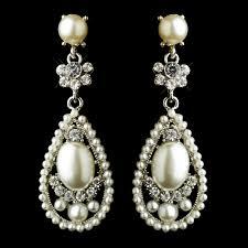antique silver clear rhinestone and diamond white pearl