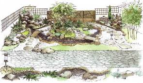 Small Picture Sketch of the Japanese garden with a dry stream Bosquejos