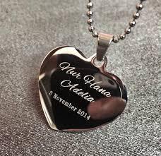 custom engrave stainless steel heart shaped pendant