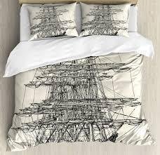 pirate ship duvet cover set with pillow shams sail boat vintage print