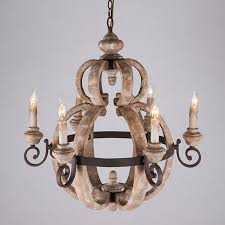 retro rust 6 candle light wood metal vintage chandelier ceiling pendant fixture
