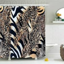 shower curtain safari wild striped zebra and leopard pattern camouflage bathroom set tropical graphic fabric decor