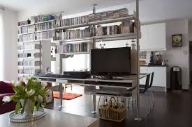 TV stands can be placed atop a double shelf. The slot in the double shelf