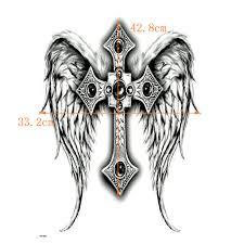 Plné Zadní Kříž Vodotěsné Dočasné Tetování Muži ženy Boží Křídla