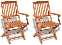 vidaXL <b>2 pcs Outdoor</b> Garden Folding Dining <b>Chairs Seat</b> Acacia ...