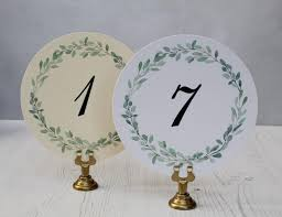 wedding table numbers cards round wedding table numbers round water color table numbers green wreath table number