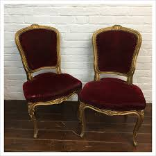 red and gold french dining chairs