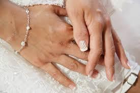 ženské Ruce Svatební šaty Nevěsta Ranní Příprava Bílé Svatební Nehty