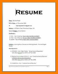 resume format in doc