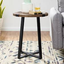 dark walnut rustic urban industrial wood and metal wrap round accent side table