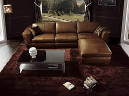 Leather Sectional Living Room Furniture Dark Colored Rug And Modern Coffee Table Using Brown Leather