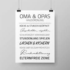 Spruch Poster Oma Opas Hausordnung Zimmer Wand Dekoration Geschenk A4