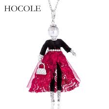 <b>HOCOLE</b> New Alloy <b>Simulated Pearl</b> Red Skirt Doll Necklace Long ...